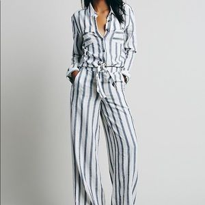 Free People Striped Linen Jumpsuit